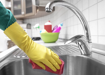 House Cleaner Cleaning Kitchen Sink